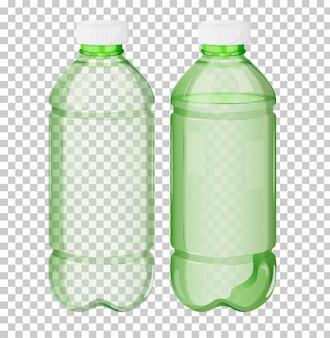 Пластиковая зеленая прозрачная бутылка