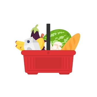 白い背景で隔離の製品でいっぱいのプラスチック食料品バスケット