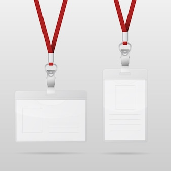Plastic id horizontal and vertical badges with red lanyards