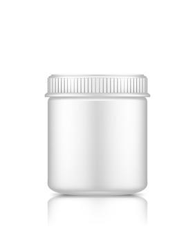 Макет пластиковой банки на белом фоне для дизайна упаковки