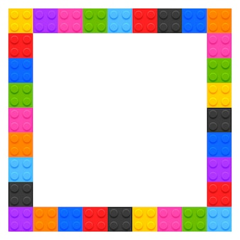 Plastic kids blocks frame with copyspace