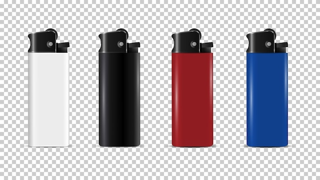 Plastic lighter disposable realistic mock up