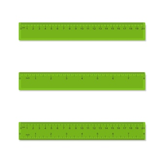 Plastic measuring rulers in centimeters inches millimeter  aparted and combined