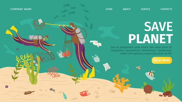 Plastic ocean pollution, save sea planet website  illustration. ecology garbage bottle, people underwater protection. cartoon water waste, nature conservation damage at coast banner.
