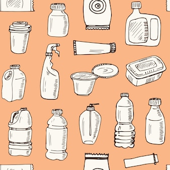 Пластиковая упаковка рисованной каракули бесшовный фон