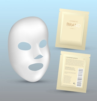 Plastic packaging with sheet mask. blank foil or plastic sachet for food or medicines.