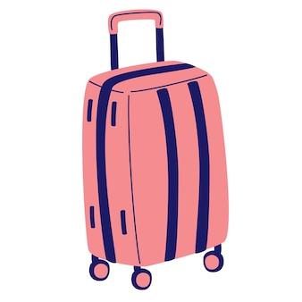 플라스틱 핑크색 가방. 여행 수하물 아이콘 수하물, 공항의 수하물입니다. 여름 여행 기호 기호입니다. 관광 및 휴가 아이콘입니다. 만화 벡터 일러스트 레이 션