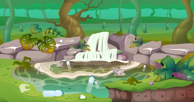 Plastic pollution flat color illustration. industrial damage to wild environment. trash and waste in water. cut trees in rainforest. tropical 2d cartoon landscape with greenery on background