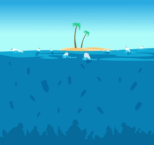 Plastic pollution of ocean. bottles, plastic bags and debris on the seabed. water environment protection eco