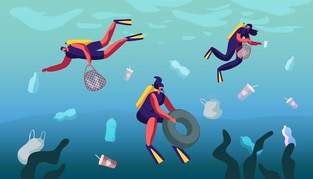 Пластиковое загрязнение моря различными видами мусора. мультфильм плоский рисунок