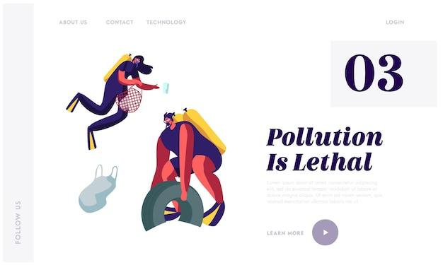 쓰레기와 함께 바다의 플라스틱 오염. 스쿠버 다이버는 해저에서 쓰레기와 쓰레기를 수집합니다. 웹 사이트 방문 페이지 템플릿