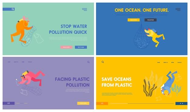 Plastic pollution of sea website landing page set.