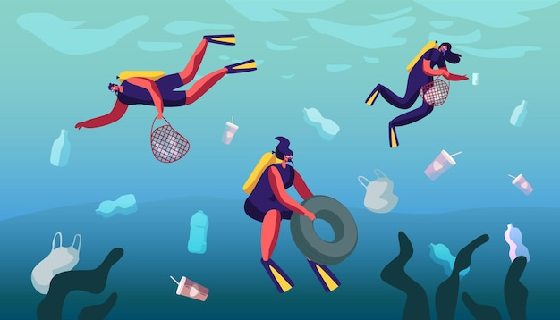 Plastic pollution of sea with different kinds of garbage. cartoon flat  illustration