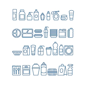 Plastic product package, disposable tableware, food containers, cups and plates line  icons