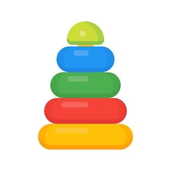 子供のためのプラスチックのピラミッドは、白で隔離のイラストをベクトルします。小さな子供のためのおもちゃのパズル、幼稚園の子供のための未就学児のための塔