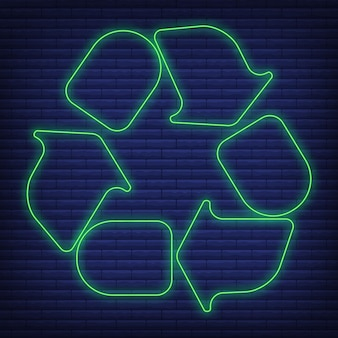 Plastic recycling waste sorting container icon glow neon style, environmental protection label flat vector illustration, isolated on black. web label.