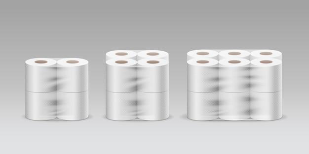 プラスチックロールティッシュペーパー3製品、4ロール、8ロール、12ロール