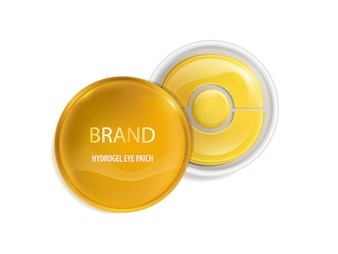 Plastic round jar with set of patches for eyes, with gold and hydrogel.