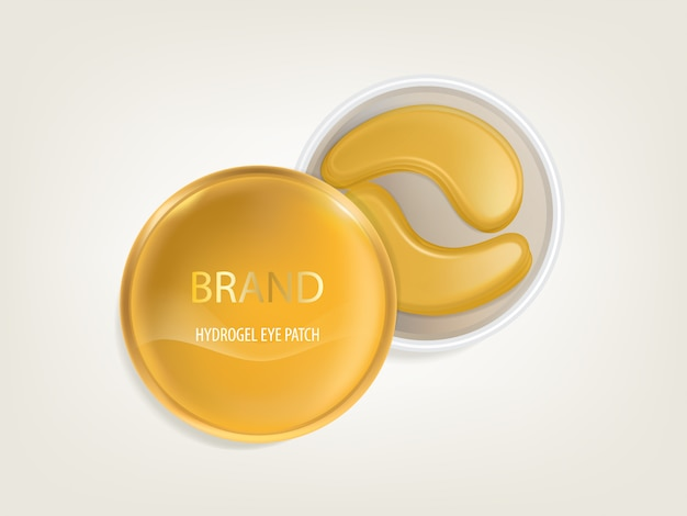 Plastic round jar with set of patches for eyes, with gold and hydrogel
