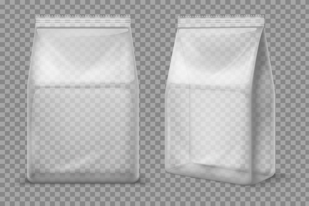 Plastic snack bag. transparent food blank sachet. 3d vector package isolated
