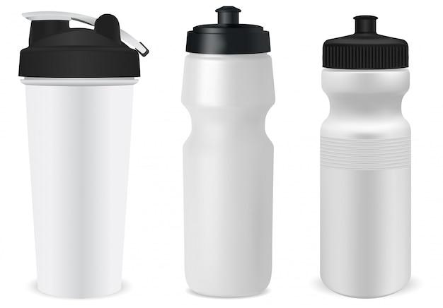 プラスチックスポーツボトル。再利用可能な水フラスコブランク