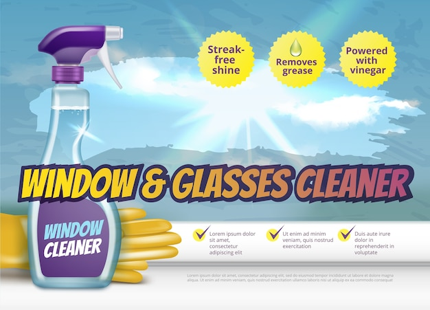 Plastic spray pistol with detergent and rubber gloves for window and glass cleaning, ads banner