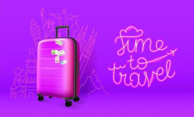 Plastic suitcase on violet banner