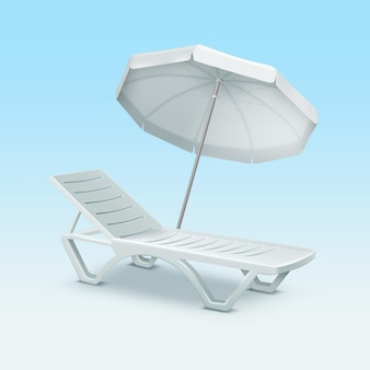 Plastic sunlounger with white beach umbrella isolated on blue gradient background
