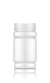 패키지 디자인을 위해 흰색 배경에 격리된 플라스틱 보충제 또는 약 병 모형