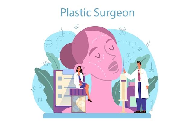 Plastic surgeon concept in flat design