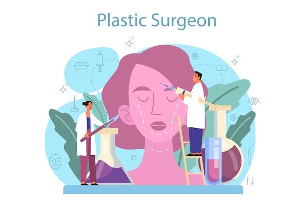 성형 외과 의사 개념입니다. 몸과 얼굴 교정에 대한 아이디어.