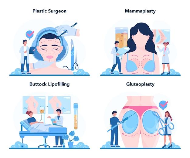 성형 외과 의사 개념 설정 그림