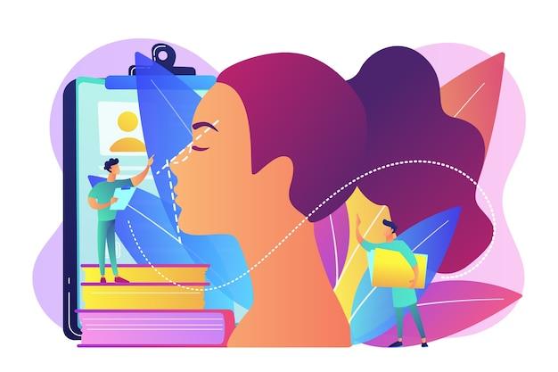 코 성형을 위해 여성 코의 형태를 교정하는 성형 외과 의사. 코 성형술, 코 교정 절차, 외과 코 성형술 개념.