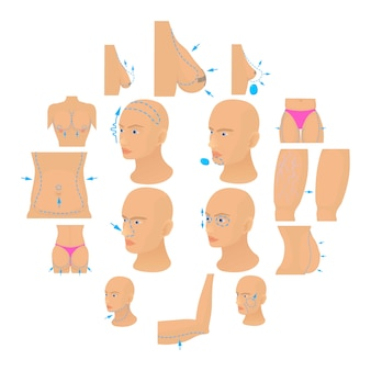 Plastic surgeon icons set body, cartoon style