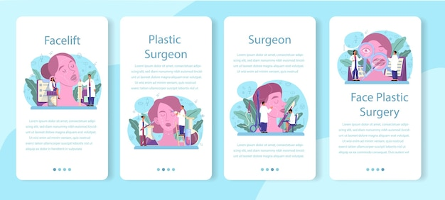 Plastic surgeon mobile application banner set. idea of body and face correction. rhinoplastyin hospital and anti-aging procedure.