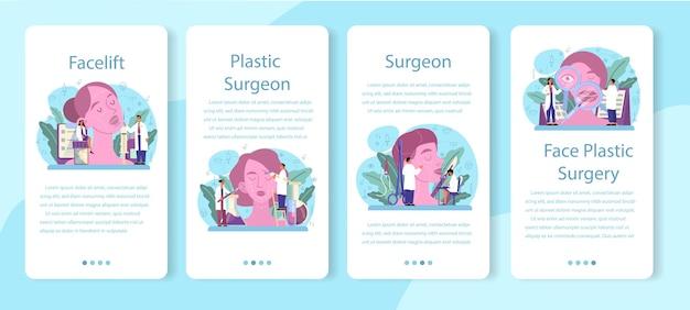 성형 외과 의사 모바일 응용 프로그램 배너 세트입니다. 몸과 얼굴 교정에 대한 아이디어. rhinoplastyin 병원 및 노화 방지 절차.