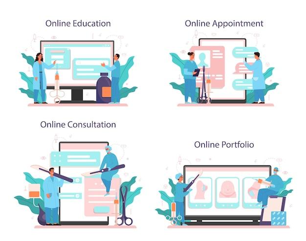 성형 외과 의사 온라인 서비스 또는 플랫폼 세트. 신체 교정에 대한 아이디어. 온라인 교육, 포트폴리오, 약속, 상담.