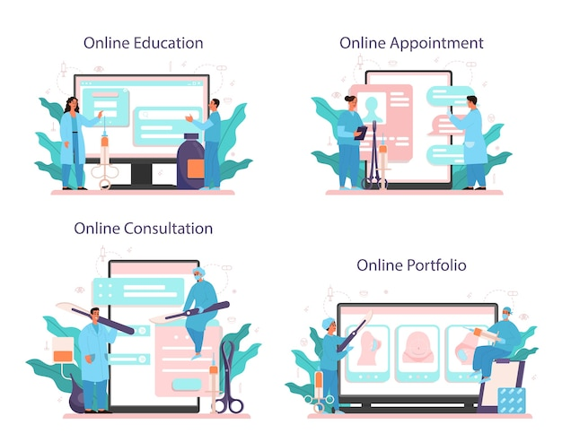 Plastic surgeon online service or platform set. idea of body correction. online education, portfolio, appointment, consultation.