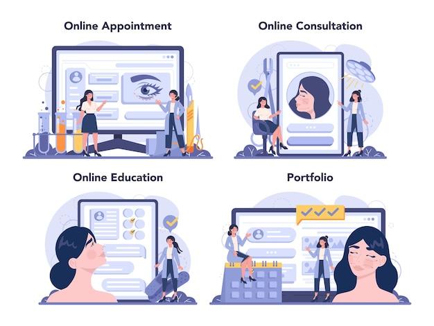 Plastic surgeon online service or platform set