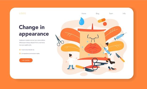 Plastic surgeon web banner or landing page