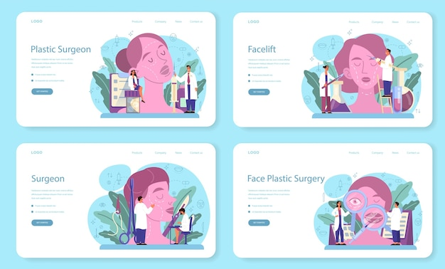 성형 외과 의사 웹 배너 또는 방문 페이지 세트. 몸과 얼굴 교정에 대한 아이디어. rhinoplastyin 병원 및 노화 방지 절차.