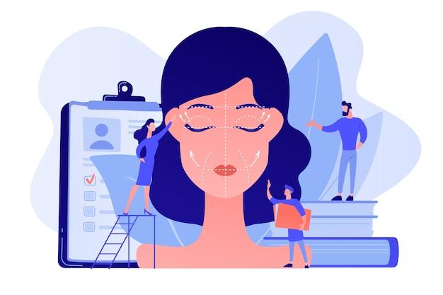 しわのある女性の顔の美容整形手術に取り組んでいる形成外科医。フェイスリフティング、リチド切除術、フェイスリフト手術のコンセプト。ピンクがかった珊瑚bluevector分離イラスト