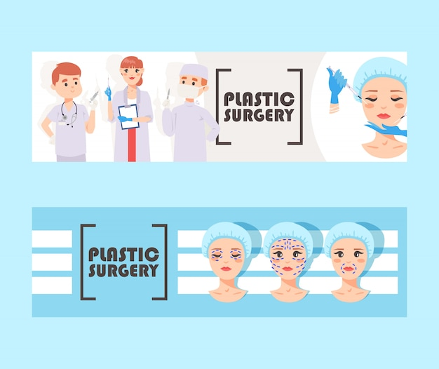 Plastic surgery banner vector illustration.  face correction. doctors stuff with equipment. liposuction of cheeks, eyes and lips, face cosmetology. beauty health procedure. body surgery.