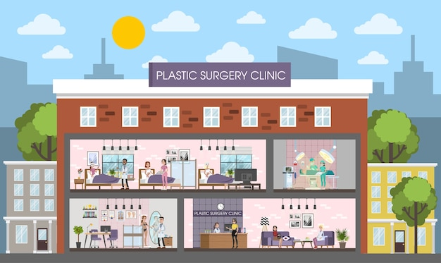 Plastic surgery clinic building interior with surgery, rooms and reception. woman after surgeon in the bed. vector flat illustration