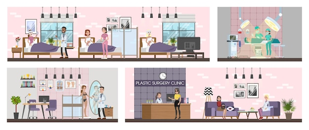 Plastic surgery clinic interior with surgery, rooms and reception.