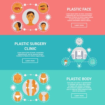 Plastic surgery concept horizontal banners set