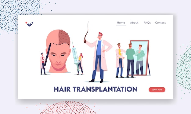 Plastic surgery, hair loss problem landing page template. tiny doctor characters around huge male head making hair transplantation, satisfied patient look in mirror. cartoon people vector illustration Premium Vector