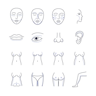 Plastic surgery icons thin line set isolated on white