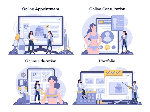 성형 수술 온라인 서비스 또는 플랫폼 세트 프리미엄 벡터