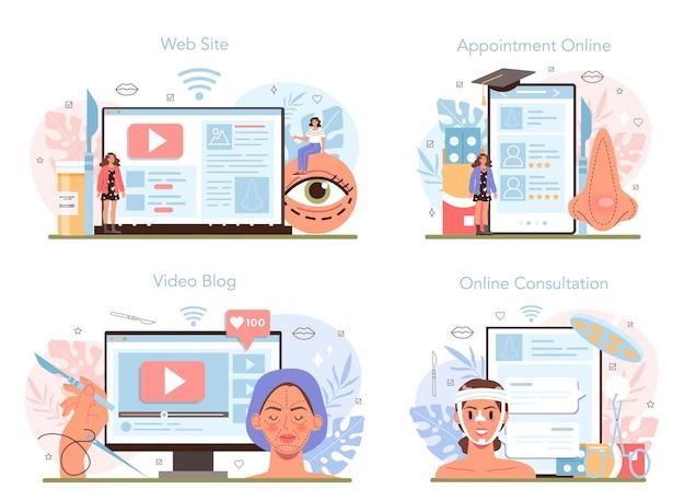Plastic surgery online service or platform set